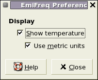 The preferences dialog