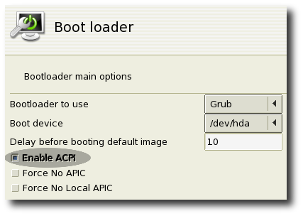 Screenshot of the boot loader section